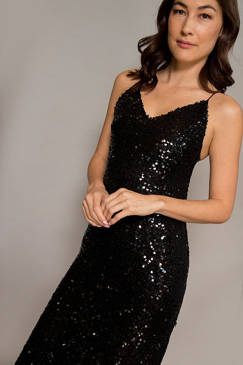1970's Black Sequin Slip Dress W/ Slit