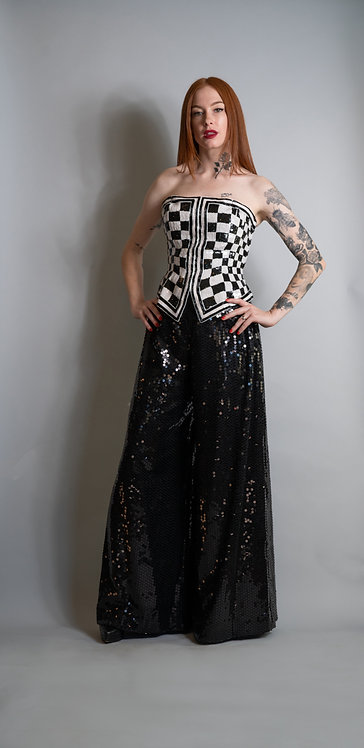 Ann Lawrence Sequin Checked Bustier and Sequin Pants