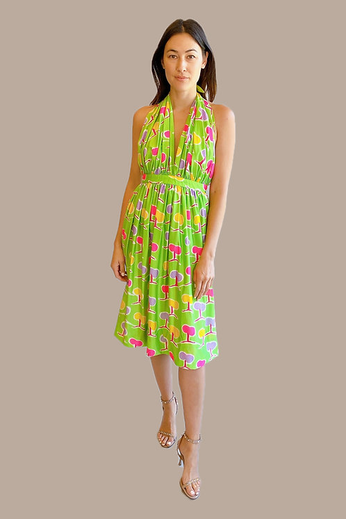 Oscar de la Renta Green Halter Dress