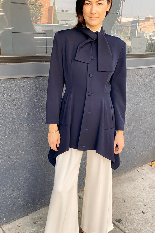 Yohji Yamamoto Wool High/Low Blaze Jacket with Neck Tie