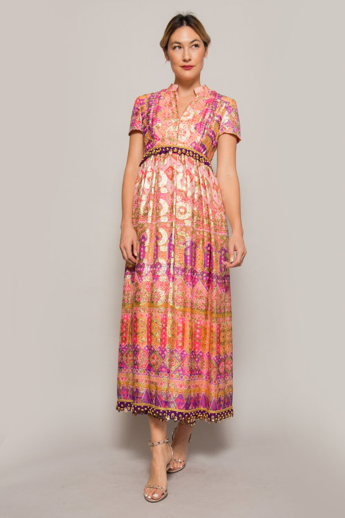1960's I.Magnin Metallic Brocade Dress
