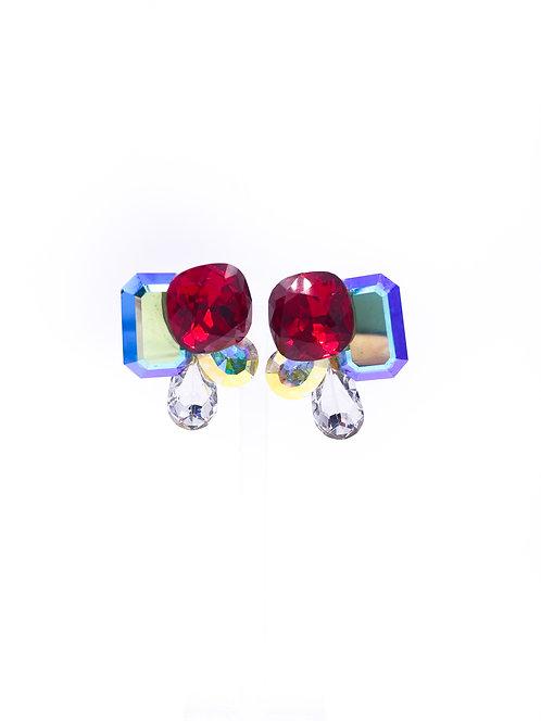Geometric Crystal Clip-on Earrings