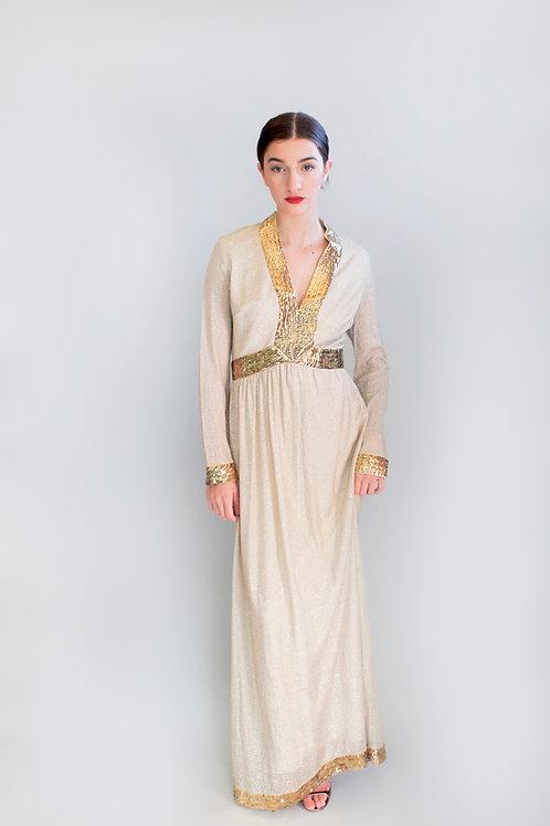 Victor Costa Gold Sequin Dress