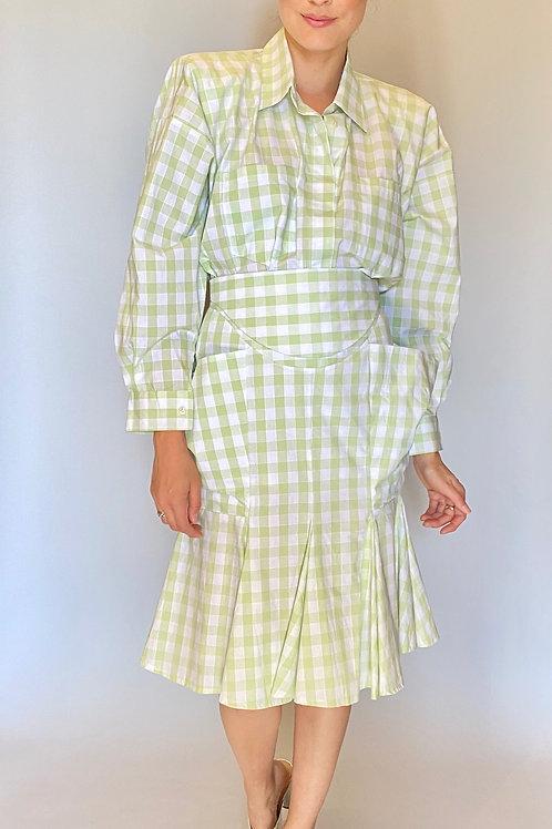 Norma Kamali Plaid Skirt Set