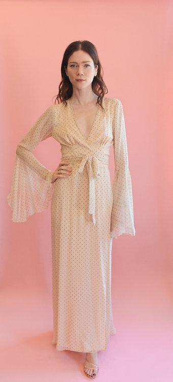 Jane Booke Silk Polka Dot Chiffon Wrap Dress