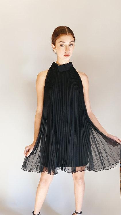 60's Black Pleated Cocktail Dress