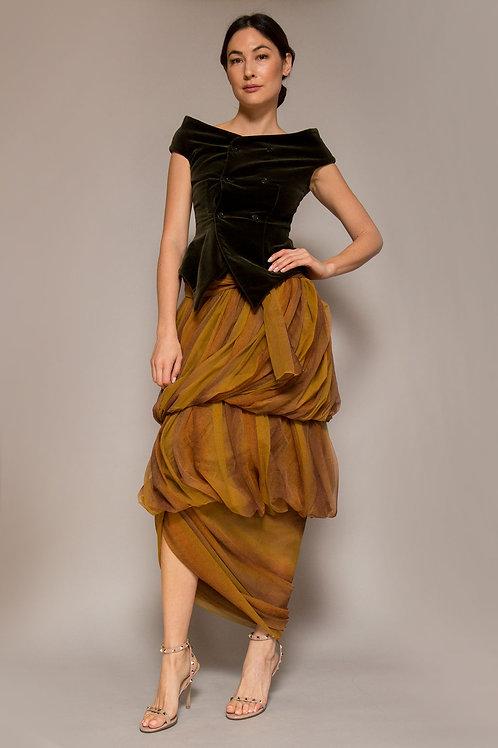 1990's Romeo Gigli Draped Tulle Skirt