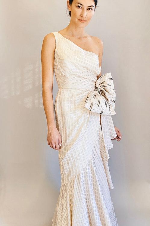 One Shoulder White Ruben Panis Silk Gown/Dress W/ Enlarged Rhinestone Bow