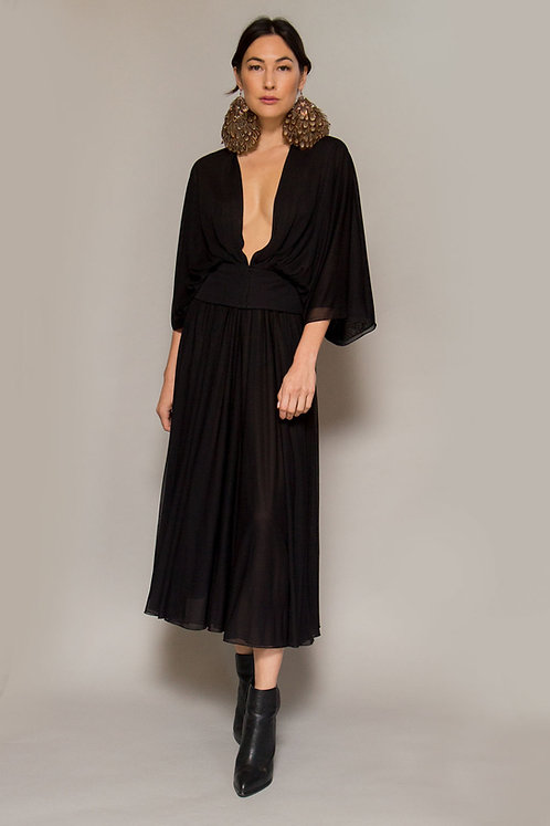 Pauline Trigere Silk Blouse & Skirt Set