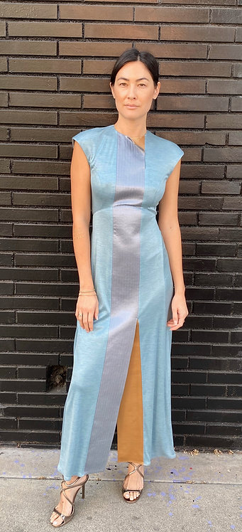 Geoffrey Beene Silk Jersey Sky Blue Gown with Gold Satin Detailing