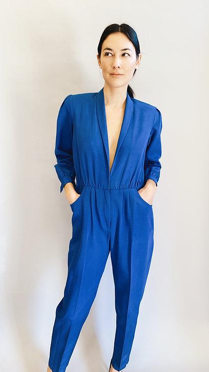 Blue Jumpsuit W/ Plunging Neckline & Pockets