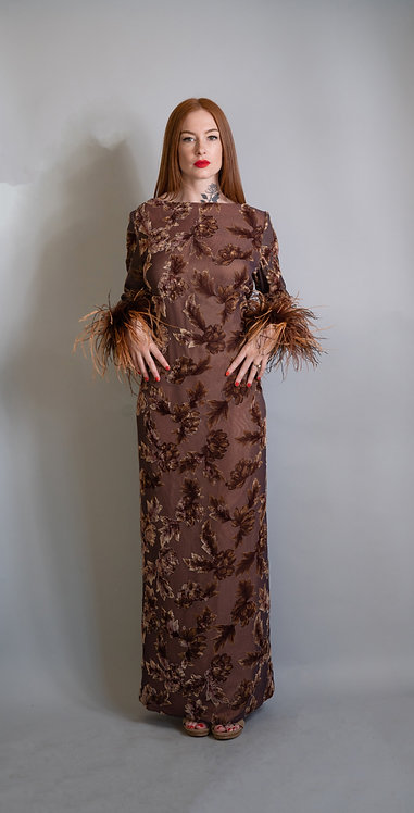 70's Victor Costa Burnt Velvet Floral w/ Ostrich Feathers Cowl Neck Gown