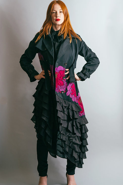 John Galliano Satin Trench Coat with Ruffled Asymmetrical Hem