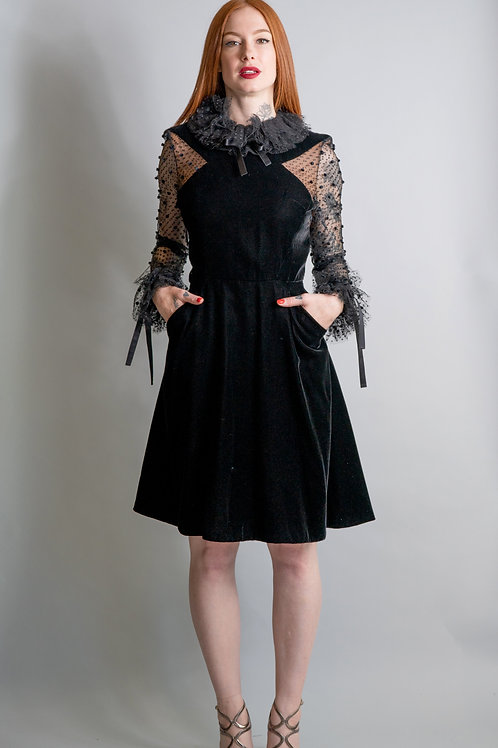 Jacqueline De Ribes Velvet and Lace Dress
