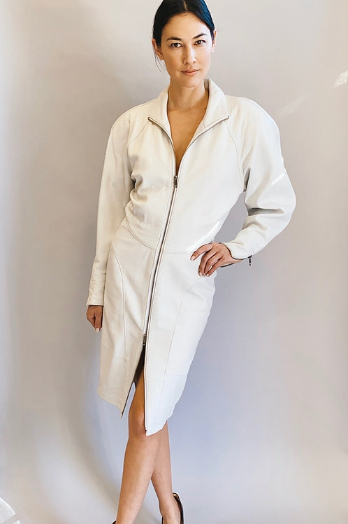 Michael Hoban for North Beach White Leather 80's Dress