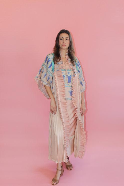 Zandra Rhodes Field of Lillies Pleated Robe Dress
