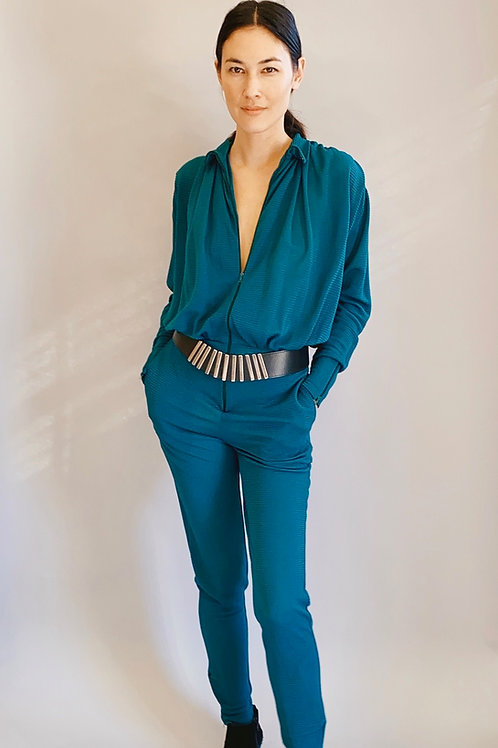 Gerard Italy Teal Striped Pencil Leg Jumpsuit