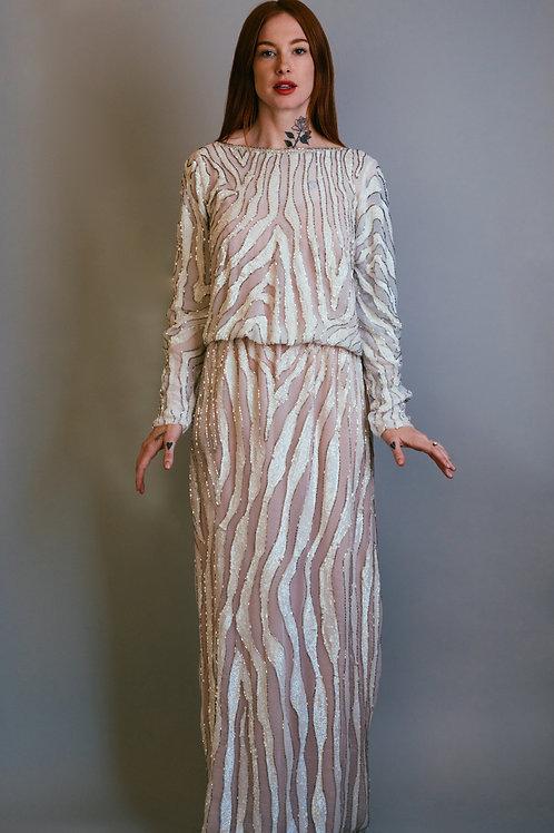 Ruben Panis White Zebra Print Sequin Gown