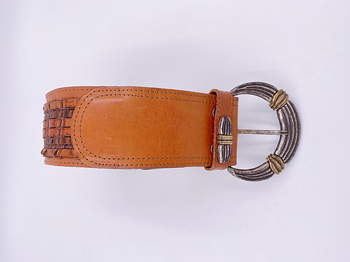 Lina Lee Brown Leather Woven Belt with silver Buckle