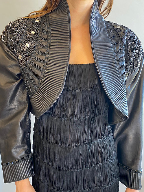 Erez Embellished Leather Bolero
