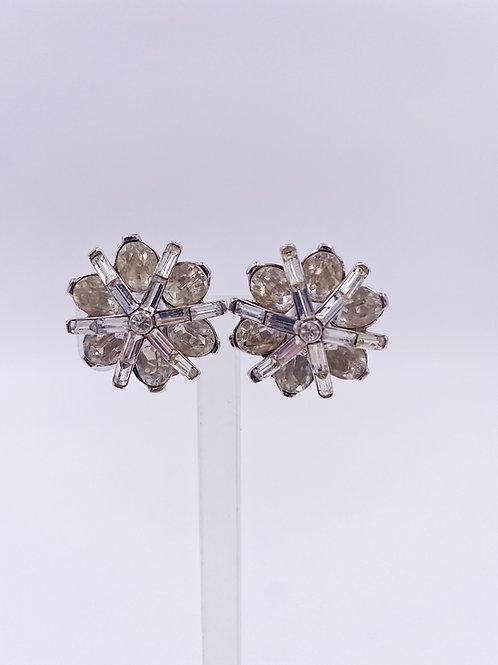 Weiss Crystal Starburst Clip Earrings