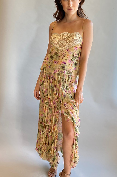 Floral Valentino Camisole and Skirt set