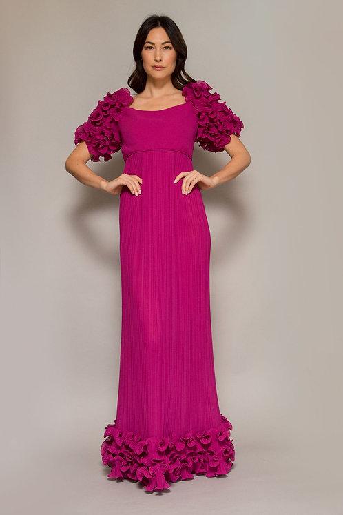 1960's Alfred Bosand Scalloped Fuschia Gown