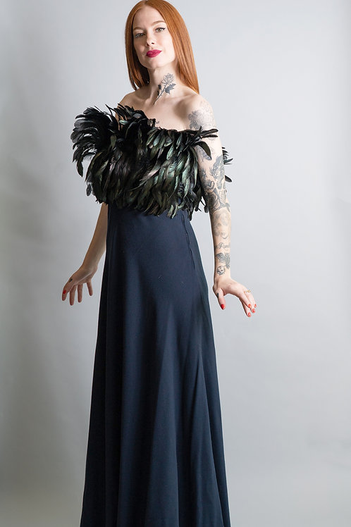 Vintage Pauline Trigere Strapless Feather Gown