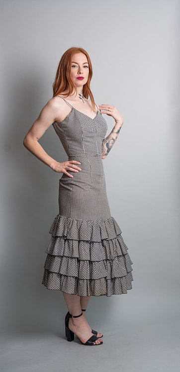 50's Lilli Diamond Black and White Gingham Ruffle Dress