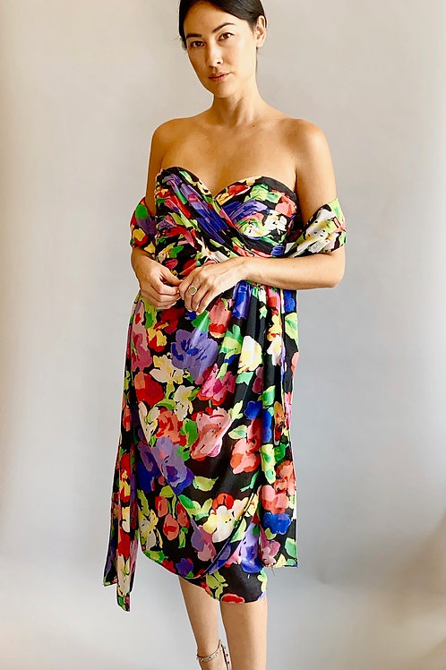 Victor Costa 80's Floral Strapless Dress & Shawl