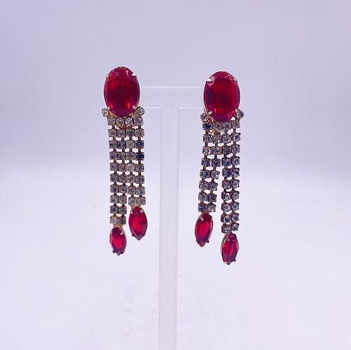 Ruby and Crystal Drop Earrings