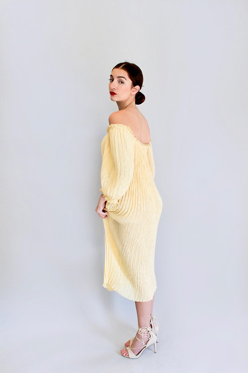 Mary McFadden Pleated Puff Shoulder Dress