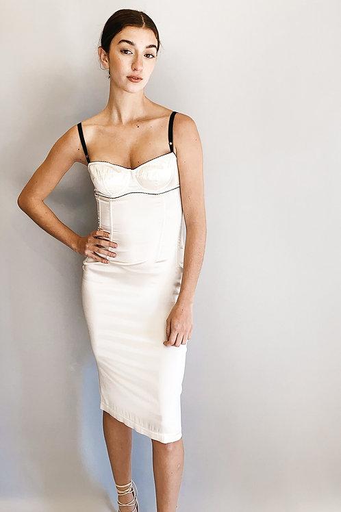 Dolce & Gabbana White Satin Bra Top, Bustier Slip Dress