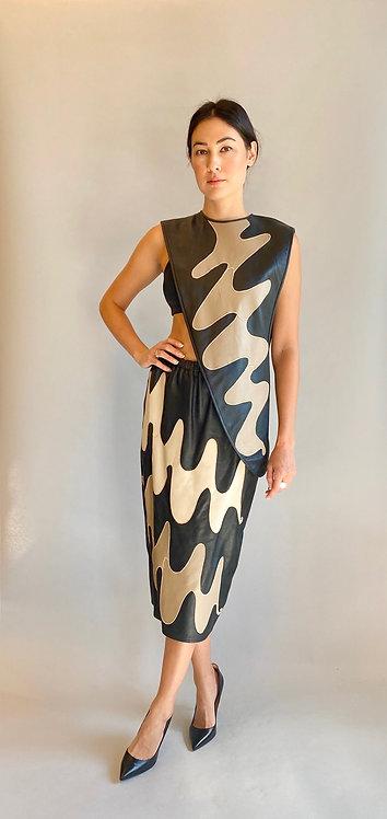 Leather Assymetrical Top & Skirt Set