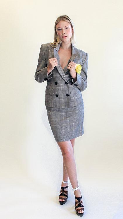 Escada Plaid Skirt Suit with Handkercheif