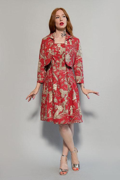 1960s Novelty Print Dress w/Matching Jacket