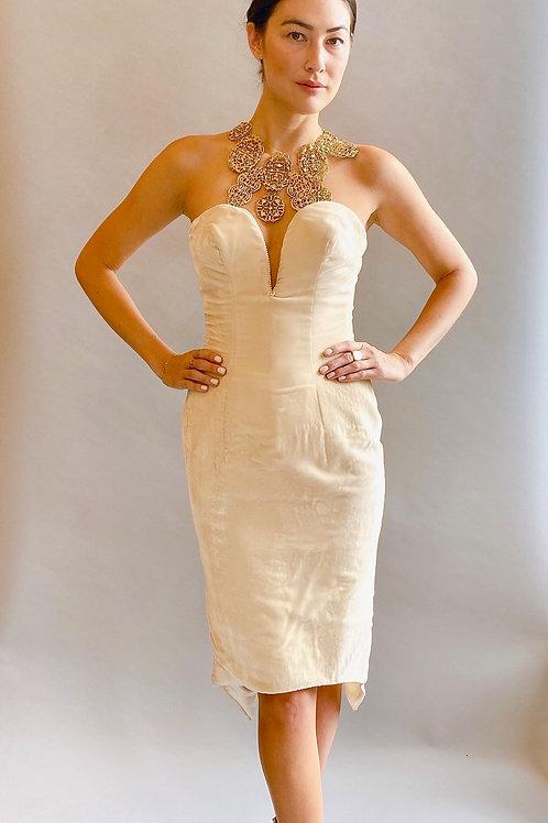 White Velvet and Pearl Strapless Cocktail Dress
