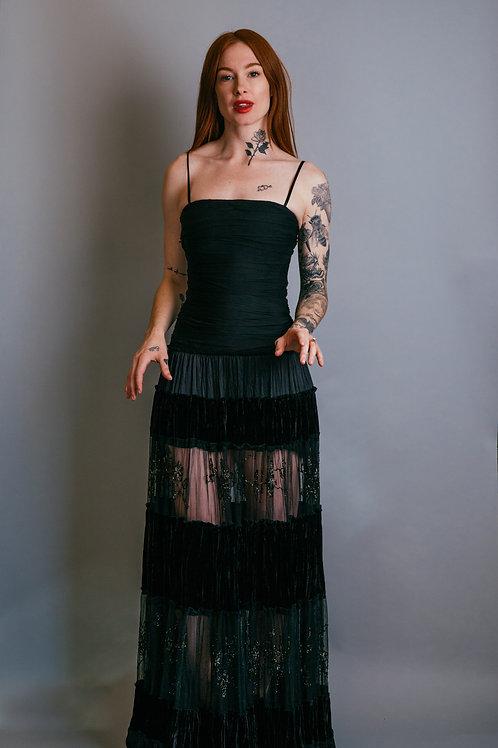 Oscar De La Renta Floor Length Gown with Beaded and Velvet Panels