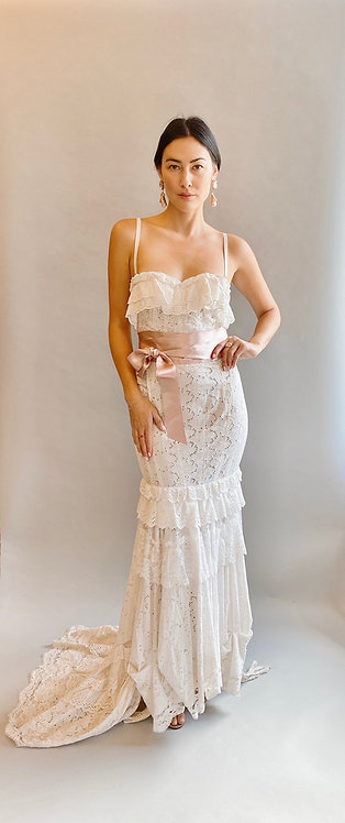 Dolce & Gabbana White Lace Eyelet Gown