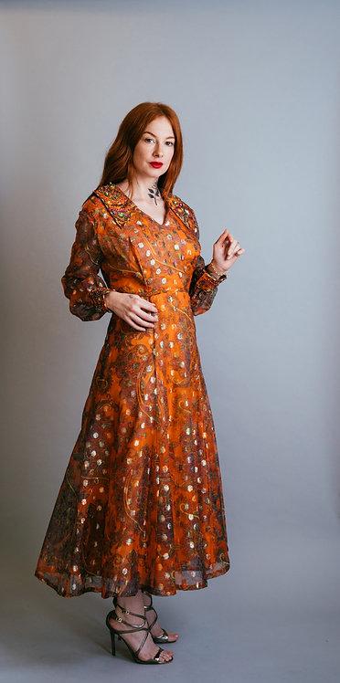 60's Metallic Dress with Sequin Collar