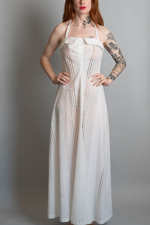 70's White Cotton Eyelet Dress