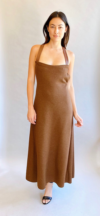 Geoffrey Beene Brown Dress w/ Leather Straps