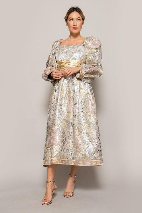 Leonard Metallic Tea Length Gown