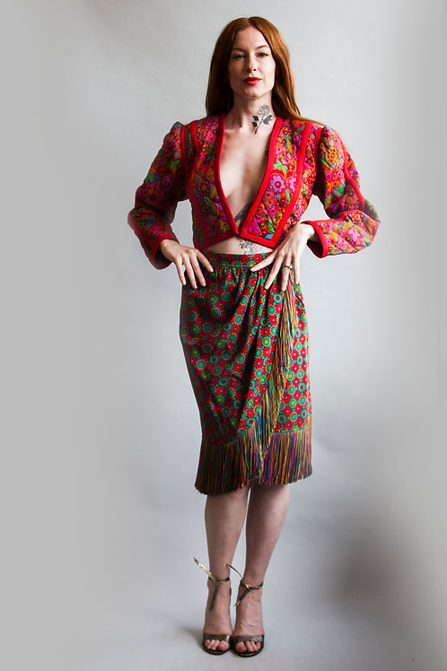 1990's YSL Quilted Jacket and Fringe Skirt Set