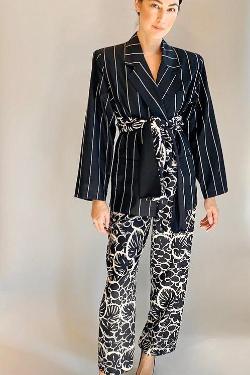 Gianni Versace Silk Pinstripe & Printed Pant Suit