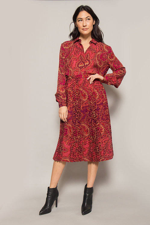 Adolfo Silk Paisley Blouse & Skirt Set
