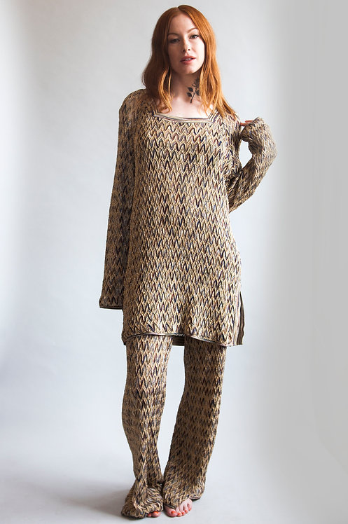 Vintage 1970s Missoni Knit Gold and Brown Tunic Set