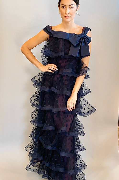 Arnold Scaasi Polka Dot Tiered Dress/Gown