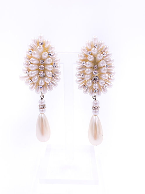 Pearl and Rhinestone Clip-on Drop Earrings