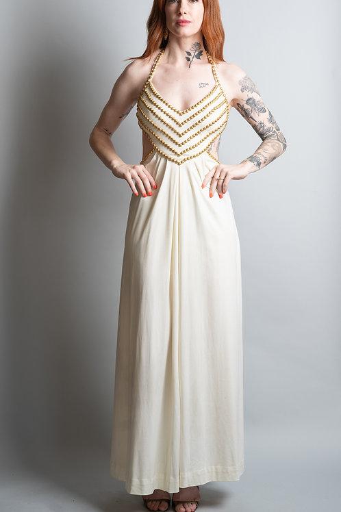 70's Estevez Studded Cut Out Dress